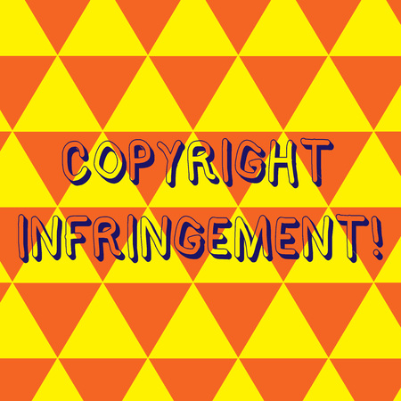 Writing note showing Copyright Infringement. Business concept for use of works protected by law without permission Repeat Triangle Tiles Arranged in Orange and Yellow Color Pattern Archivio Fotografico