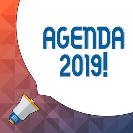 Word writing text Agenda 2019. Business photo showcasing list of items to be discussed at formal meeting or event Huge Blank White Speech Bubble Occupying Half of Screen and Small Megaphone