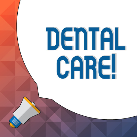 Word writing text Dental Care. Business photo showcasing maintenance of healthy teeth and may refer to Oral hygiene Huge Blank White Speech Bubble Occupying Half of Screen and Small Megaphone