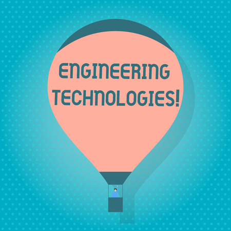 Word writing text Engineering Technologies. Business photo showcasing application of scientific and engineering knowledge Blank Pink Hot Air Balloon Floating with One Passenger Waving From Gondola Фото со стока