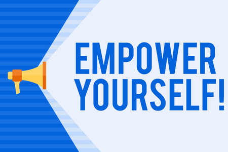 Conceptual hand writing showing Empower Yourself. Concept meaning taking control our life setting goals and making choices Megaphone Extending the Volume Range through Space Wide Beam Stock Photo