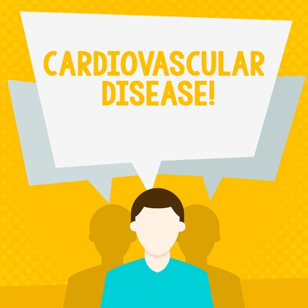 Conceptual hand writing showing Cardiovascular Disease. Concept meaning conditions involve narrowed or blocked blood vessels Faceless Man has Two Shadows with Speech Bubble Overlapping Imagens - 119965323