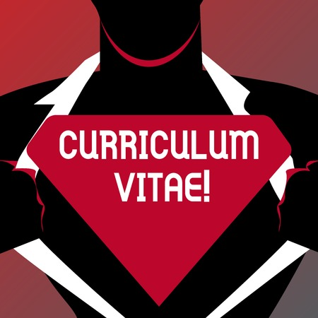 Conceptual hand writing showing Curriculum Vitae. Concept meaning brief account demonstratings education and previous occupations Man Opening his Shirt to reveal the Blank Triangular Logo
