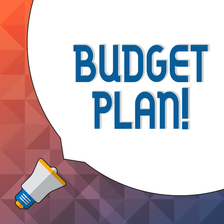 Word writing text Budget Plan. Business photo showcasing estimate of income and expenditure for set period of time Huge Blank White Speech Bubble Occupying Half of Screen and Small Megaphone Banco de Imagens