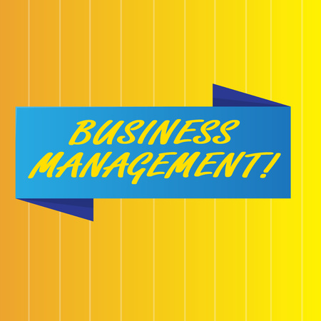 Text sign showing Business Analysisagement. Business photo showcasing research discipline identifying needs determining Blank Folded Color Banner photo on Vertically Striped Two Toned Backdrop