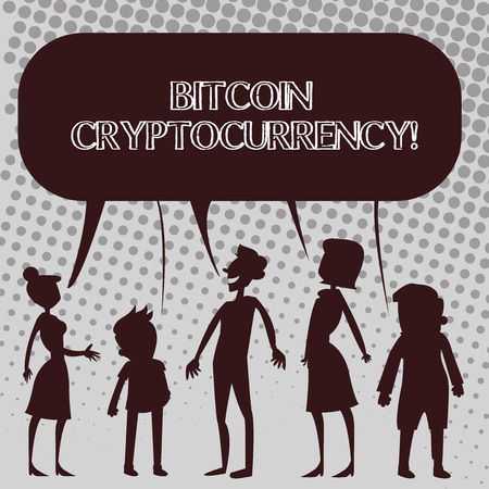 Handwriting text Bitcoin Cryptocurrency. Conceptual photo digital payment currency utilizes cryptocurrencies Silhouette Figure of People Talking and Sharing One Colorful Speech Bubble