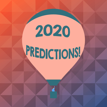 Word writing text 2020 Predictions. Business photo showcasing statement about what you think will happen in future Blank Pink Hot Air Balloon Floating with One Passenger Waving From Gondola