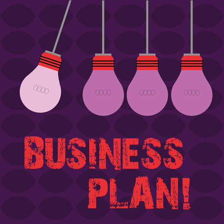 Conceptual hand writing showing Business Plan. Concept meaning setting out business future objectives for achieving them Color Pendant Bulb Hanging with One Different Shade Lightbulb