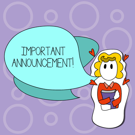 Writing note showing Important Announcement. Business concept for A significant public notification or declaration Girl Holding Book with Hearts Around her and Speech Bubble