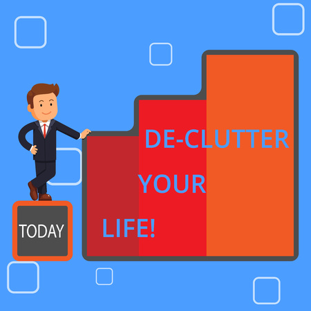 Handwriting text writing De Clutter Your Life. Conceptual photo remove mess clutter from place organize and prioritize Happy Businessman Presenting Growth and Success in Rising Bar Graph Columns