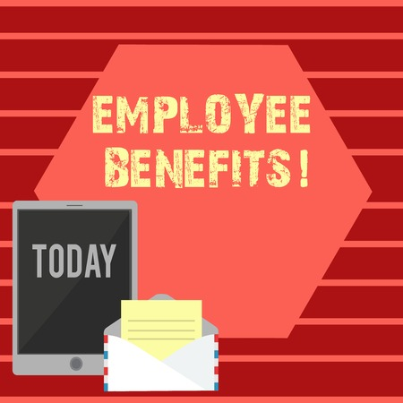 Writing note showing Employee Benefits. Business concept for indirect and non cash compensation paid to employee Envelope with Paper and Tablet Screen on Color blank Space Reklamní fotografie