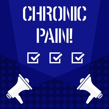Writing note showing Chronic Pain. Business concept for normal sensation alerts us to possible injury last twelve weeks Spotlight Crisscrossing Upward from Megaphones on the Floor