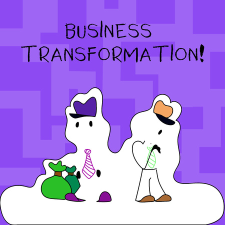 Text sign showing Business Transformation. Business photo text process of fundamentally changing systems processes Figure of Two Men Standing with Pouch Bag on White Sticker Style Snow Effect 写真素材 - 119967362