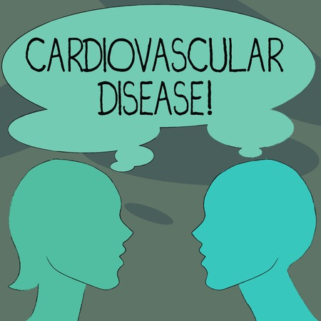 Handwriting text Cardiovascular Disease. Conceptual photo conditions involve narrowed or blocked blood vessels Silhouette Sideview Profile Image of Man and Woman with Shared Thought Bubble