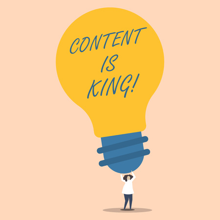 Word writing text Content Is King. Business photo showcasing marketing focused growing visibility non paid search results Person Standing and Raising Up Arms Holding Big Yellow Lightbulb for Ideas