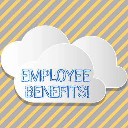 Conceptual hand writing showing Employee Benefits. Concept meaning indirect and non cash compensation paid to employee White Clouds Cut Out of Board Floating on Top of Each Other Imagens