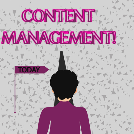 Word writing text Content Management. Business photo showcasing processes supports collection and publishing information Man Facing the Distance Ahead and Blocking the View of Straight Narrow Path Stock Photo