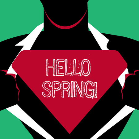 Text sign showing Hello Spring. Business photo text Welcoming season comes after winter Blossoming of plant Man in Pose Opening his Shirt to reveal the Blank Triangular Stock Photo