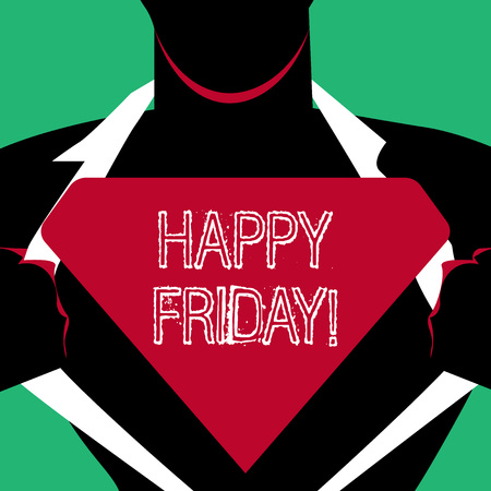 Text sign showing Happy Friday. Business photo text starting fresh week after weekend welcoming it with smile Man in Pose Opening his Shirt to reveal the Blank Triangular