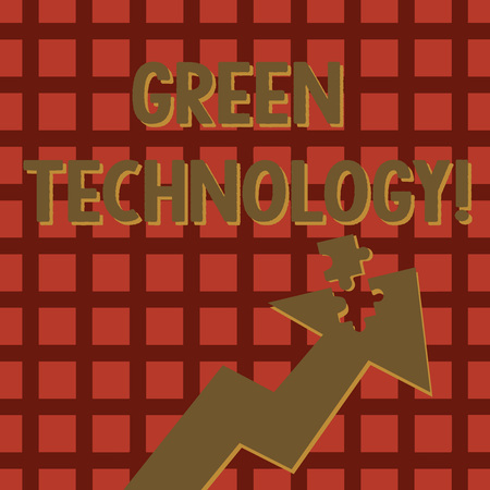 Writing note showing Green Technology. Business concept for mitigate reverse effects of huanalysis activity on environment Arrow Pointing Up with Detached Part Jigsaw Puzzle Piece Standard-Bild - 119965785