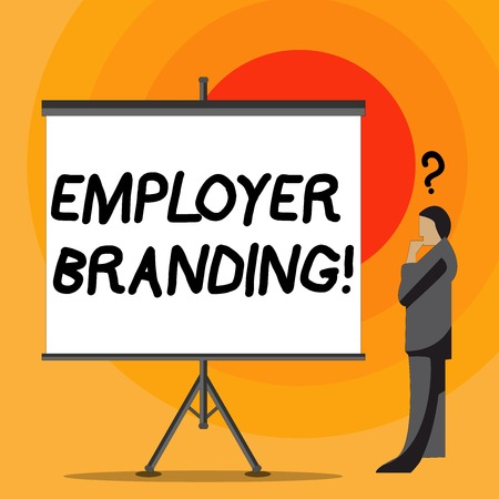 Writing note showing Employer Branding. Business concept for process promoting company of choice desired target group Businessman with Question Mark Above his Head Blank Screen Reklamní fotografie