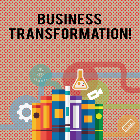 Text sign showing Business Transformation. Business photo showcasing process of fundamentally changing systems processes Books Arranged Standing Up in Row with Assorted Educational Icons Behind