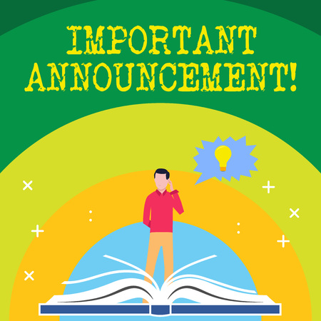 Handwriting text writing Important Announcement. Conceptual photo A significant public notification or declaration Man Standing Behind Open Book, Hand on Head, Jagged Speech Bubble with Bulb