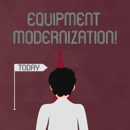 Writing note showing Equipment Modernization. Business concept for changing product service to include new functions Man Facing Distance and Blocking the View of Straight Narrow Path