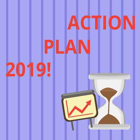 Word writing text Action Plan 2019. Business photo showcasing proposed strategy or course of actions for current year Successful Growth Chart with Arrow Going Up and Hourglass with Sand Sliding