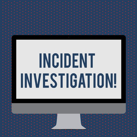 Text sign showing Incident Investigation. Business photo showcasing Account and analysis of an incident based on evidence Blank White Computer Monitor WideScreen Mounted on a Stand for Technology