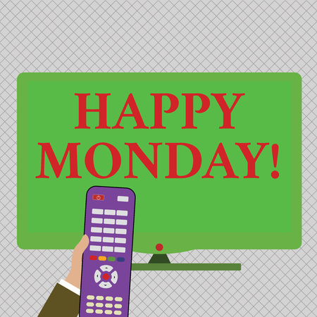 Conceptual hand writing showing Happy Monday. Concept meaning indicate starting fresh new week welcoming it with smile Hand Holding Remote Control infront of Wide Color PC Screen