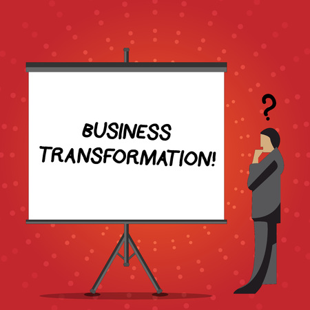 Conceptual hand writing showing Business Transformation. Concept meaning process of fundamentally changing systems processes Businessman with Question Mark Above his Head Blank Screen Фото со стока - 120020500