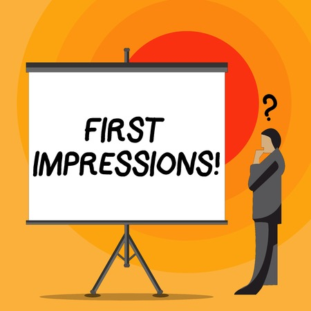 Writing note showing First Impressions. Business concept for idea feeling or opinion about something or someone Businessman with Question Mark Above his Head Blank Screen