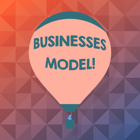 Word writing text Businesses Model. Business photo showcasing plan for successful operation business identifying revenue Blank Pink Hot Air Balloon Floating with One Passenger Waving From Gondola Stok Fotoğraf