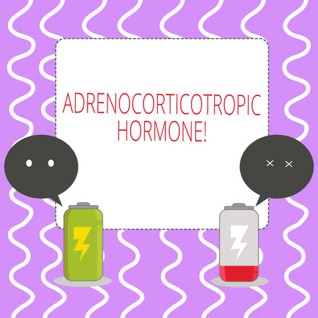 Conceptual hand writing showing Adrenocorticotropic Hormone. Concept meaning hormone secreted by pituitary gland cortex Fully Charge and Discharge Battery with Emoji Speech Bubble Reklamní fotografie