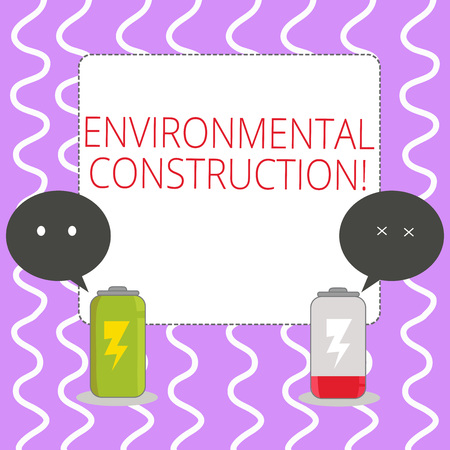 Conceptual hand writing showing Environmental Construction. Concept meaning knowledgeable about sustainable building practice Fully Charge and Discharge Battery with Emoji Speech Bubble Stock fotó
