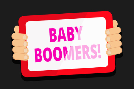 Word writing text Baby Boomers. Business photo showcasing demonstrating who is born in years following Second World War Color Tablet Smartphone with Blank Screen Handheld from the Back of Gadget