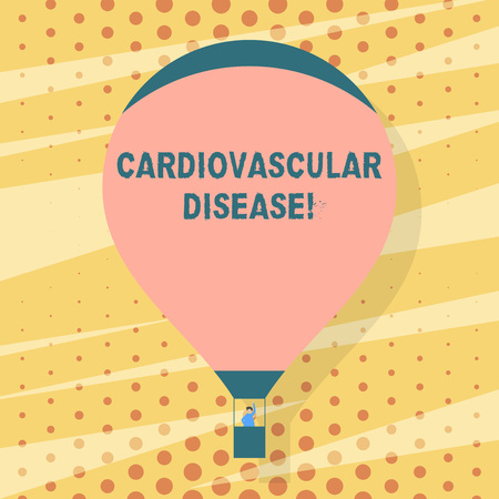 Handwriting text writing Cardiovascular Disease. Conceptual photo conditions involve narrowed or blocked blood vessels Blank Pink Hot Air Balloon Floating with One Passenger Waving From Gondola