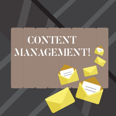 Text sign showing Content Management. Business photo showcasing processes supports collection and publishing information Closed and Open Envelopes with Letter Tucked In on Top of Color Stationery