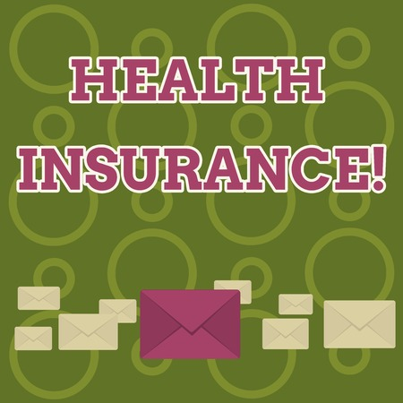 Word writing text Health Insurance. Business photo showcasing insurance taken out to cover cost of medical care Pastel Color Closed Envelopes in Different Sizes with Big one in the Middle