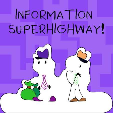 Text sign showing Information Superhighway. Business photo text Internet type network computers connect individuals Figure of Two Men Standing with Pouch Bag on White Sticker Style Snow Effect