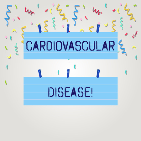 Text sign showing Cardiovascular Disease. Business photo text conditions involve narrowed or blocked blood vessels Two Color Blank Strip Size Lined Paper Sheet Hanging Using Blue Clothespin