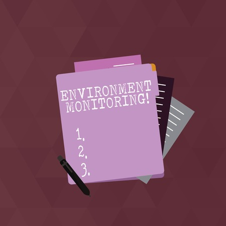 Writing note showing Environment Monitoring. Business concept for observing and studying conditions of the environment Lined Paper Stationery Partly into View from Pastel Folder