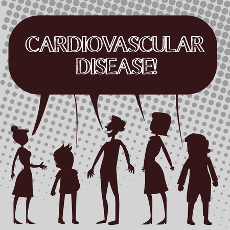 Handwriting text Cardiovascular Disease. Conceptual photo conditions involve narrowed or blocked blood vessels Silhouette Figure of People Talking and Sharing One Colorful Speech Bubble