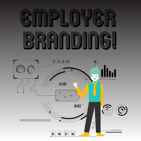 Handwriting text writing Employer Branding. Conceptual photo process promoting company of choice desired target group Man Standing Holding Pen Pointing to Chart Diagram with SEO Process Icons