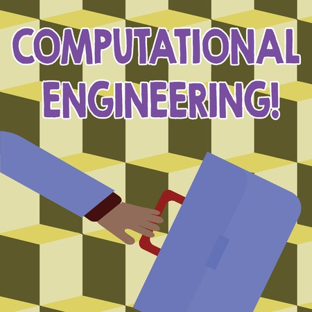 Conceptual hand writing showing Computational Engineering. Concept meaning development and application computational models Rushing Businessman Swayed Back and Holding Briefcase