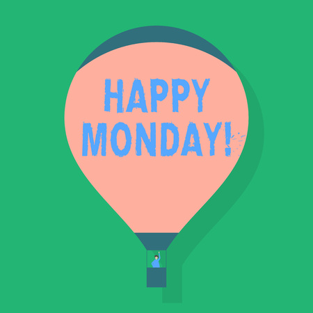 Word writing text Happy Monday. Business photo showcasing indicate starting fresh new week welcoming it with smile Blank Pink Hot Air Balloon Floating with One Passenger Waving From Gondola
