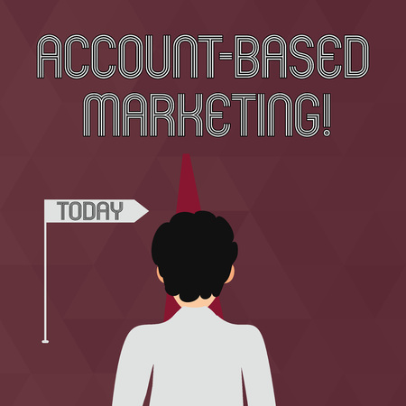 Writing note showing Account Based Marketing. Business concept for strategic approach to business based on accounting Man Facing Distance and Blocking the View of Straight Narrow Path Banque d'images