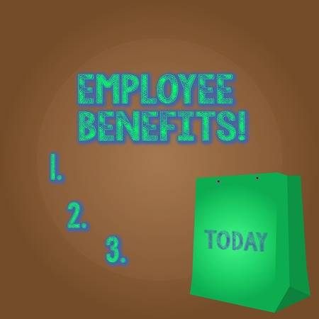 Word writing text Employee Benefits. Business photo showcasing indirect and non cash compensation paid to employee Color Gift Bag with Punched Hole but Without Handle on Twotone Blank Space