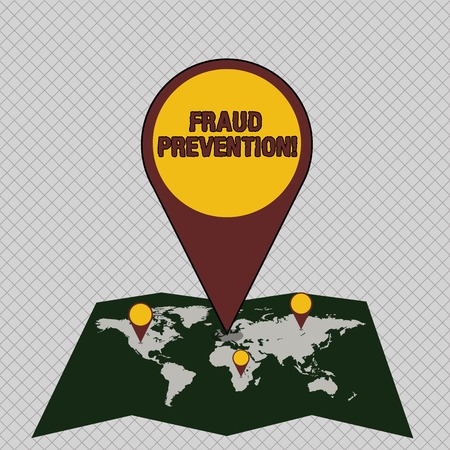 Conceptual hand writing showing Fraud Prevention. Concept meaning stop from doing or happening to hinder demonstrating acting Colorful Location Pin Pointing to Area or GPS Address on Map